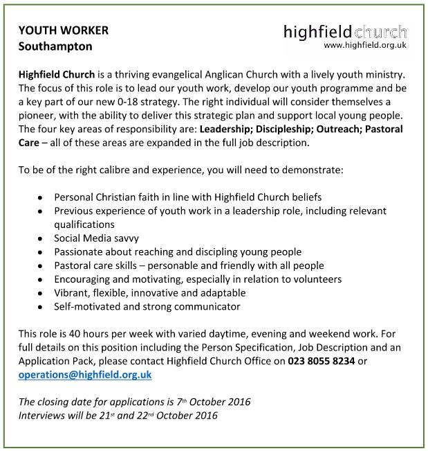 Southampton Christian Network : Youth Worker - Highfield Church